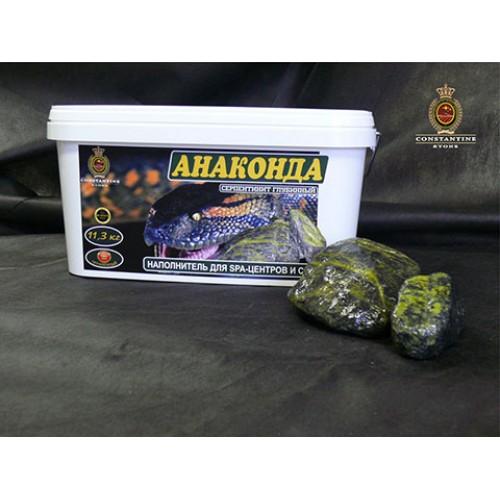 Камень для бани и сауны АНАКОНДА Серпентинит Глубинный (11,3 кг) (Ограненный по технологии галтования)