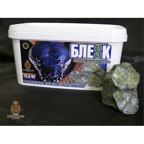 Камень для бани и сауны БЛЕСК Змеевик Перламутровый (11,3 кг) (фракционированный)