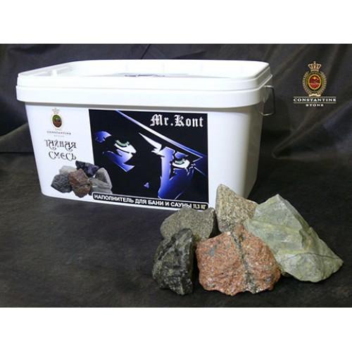 Камень для бани и сауны MR.KONT Тайная Смесь  из габброидов, гранитоидов и метабазитов (11,3 кг) (фракционированная)
